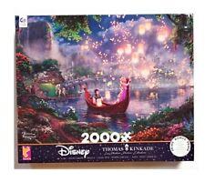 "Thomas Kinkade Disney Tangled 2000 Piece Jigsaw Puzzle 38""x26"" Bonus Poster USA"
