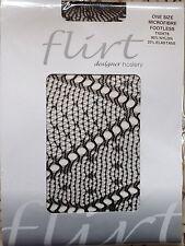microfibre footless fishnet designer Pantyhose one size Black