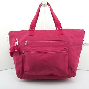 NWT Kipling SL4830 ISAAC Extra Large Tote Shoulder Bag Polyester Nylon Deep Pink