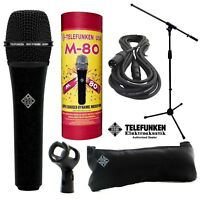Telefunken M80 Dynamic Microphone (Black) + 20ft XLR Cable and a Mic Stand