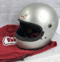 Vtg BELL Star II Full Face Silver Snell 75 Motorcycle Helmet March 1980 Bell Bag