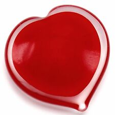 Ruby Red Center Heart Glass Paperweight 3.5 inch 9 cm Clear Outside