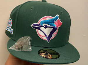 Hat Club Exclusive Toronto Blue Jays Size 7 1/4 Patch Peacock Green Blue UV Rare