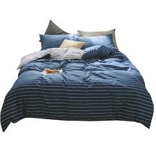 Cotton Stripe Bedding Comforter Cover Sets for Teens Kids Queen Bed Dark Blue 2