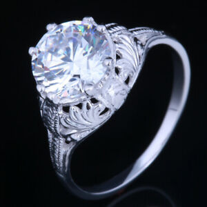 Solid 14K White Gold 8mm Round Engagement Wedding 3.49CT Cubic Zirconia Ring