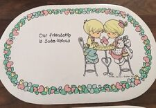 2 Vintage Precious Moments Placemats Friendship Soda-licious/Love is Kind