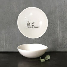 Porcelain Wobbly Mini Dish YOU ARE LOVED East of India 6 x 6cm White New