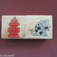 INKADINKADO Puppy Dog Hydrant 2 pc Set Wood Mounted Rubber 5756Q