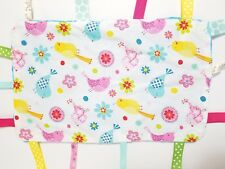 Handmade Pull Tag Security Blanket Lovey Colorful Birds Flowers Blue Minky Dot