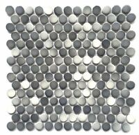 3/4 x 3/4 Penny Round Multi Gray Porcelain Mosaic Wall and Floor Backsplash Bath