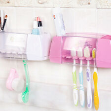 Suction Hooks Toothbrush Holder Bathroom Sets Toothpaste Brush Cup Container UK.