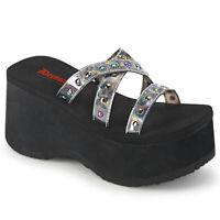 Demonia FUNN-19 Black Silver Hologram Women's Sandals Platform Flip-Flops Studs