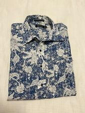 NAUTICA Men's Blue & White Floral Printed S/sleeve Button Up Shirt ~ Size XXL