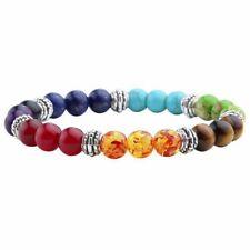 US SELLER Healing 7 Chakra Balance Bracelet Natural Stones Mala Meditation India