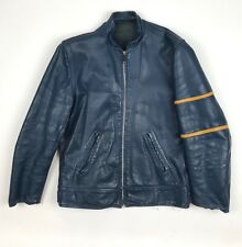Vintage Café Racer Leather Jacket in Blue