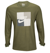 NIKE AIR BOX BLOCKED OLIVE GREEN LONG SLEEVE GRAPHIC T SHIRT MENS LARGE NWT