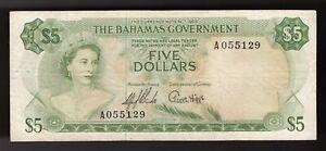 Bahamas,  5 Dollars 1965.   (Green),   Pic#  20a. (VERY RARE)