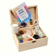 More details for crystal box gift set with crystals and sage and candle - beginners crystal set