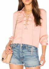 L'Academie Safari Top Small S Pink Lace Up Satin Long Sleeve Blouse Revolve