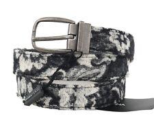 NEW $280 DOLCE & GABBANA Belt Black White Pattern Cotton Leather 95cm / 38in