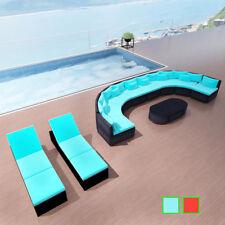 vidaXL Conjunto de Sofás de Jardín Tumbonas Poliratán Rojo/Azul Muebles Terraza