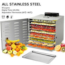 10 Tray Stainless Steel Commercial Industrial Dehydrator Food Jerky Fruit US