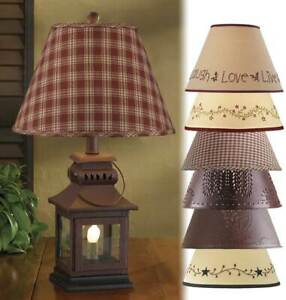 "Iron Lantern Lamp with Night Light with Choice of 12"" Lampshade + 2 Bulbs (6w)"
