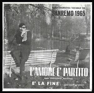 FRANCO (FRANCESCO) BATTIATO - L'AMORE E' PARTITO - 45 GIRI NET Anno 1965