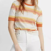 New Madewell x Free & Easy Embroidered Relaxed Tee XL Striped Orange Pink NWT