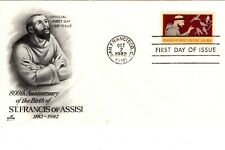 1982 COMMEMORATIVE ST. FRANCIS OF ASSISI 800TH ANIV ART CRAFT CACHET UNADDR FDC