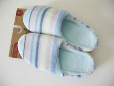 Dearfoams Womens Blue Stripe Slip On Slippers SM40451 Sz XL (11-12) - NWT