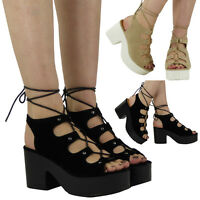WOMENS LADIES HIGH PLATFORM CUTOUT BLOCK CLEATED HEEL LACE UP SANDALS SHOES SIZE
