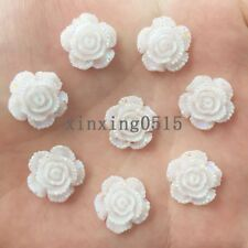 New 20pcs 14mm Resin 3D white rose Flatback stone scrapbook Wedding buttons DIY