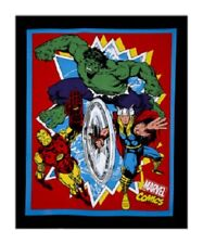 Marvel Avengers Retro Comics Thor Hulk Capt America Cotton Quilting Fabric Panel