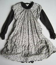 Eliane et Lena Girls 8 Yrs Black Gray Iso Floral Ruffled Dress EUC