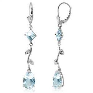 Aquamarine Leverback Earrings In 14K White Gold (3.97 ct. tw