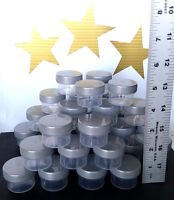 12 Small 1tblsp Plastic Jars SILVER Screw Caps Container 1/2 OZ  #K3803 DecoJars