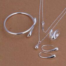4 Piece Set 925 Silver Water Teardrop Bangle Bracelet Necklace EARRINGS & Ring