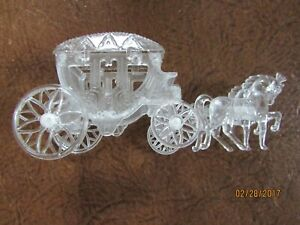 Vintage Cinderella Horse and Carriage Coach Cake Topper Clear plastic