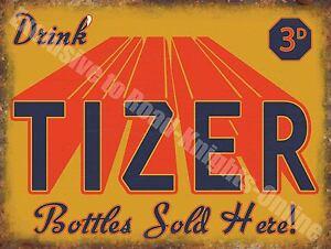 Vintage Food, 99, Tizer Retro Drink Soda Cafe Pub Old Shop, Small Metal Tin Sign