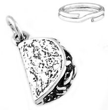 """STERLING SILVER """"3D TACO"""" CHARM WITH SPLIT RING"""