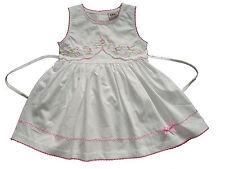 NUEVO de Bebé Algodón Vestido fiesta con flores en rosa, blanco 0-3 to 9-12