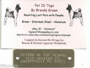 Large Solid Brass Plate Rivet on Collar Harness Horse K-9 Dog Pet ID Tag
