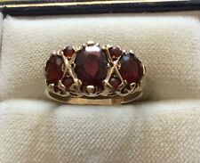 Lovely Ladies Stamped Early Vintage Solid 9ct Gold Fancy Garnet Ring - L 1/2