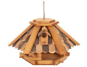 Vogel Futter Haus  Sechseck aus Holz Vogelhaus zum Hängen mit Holz Schindeln