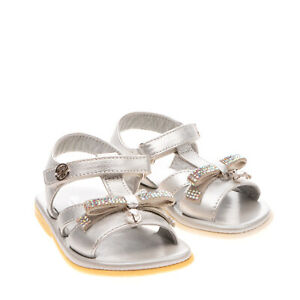 RRP €240 BLUMARINE BABY Leather T-Bar Sandals EU 20 UK 4 US 5 Bow Made in Italy