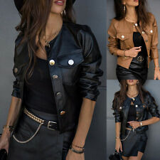 Womens Buttons Faux Leather Bomber Cropped Jacket Biker Coat Casual Tops Outwear