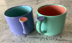 2 Lindt Stymeist  Colorways Thumbprint Handle Mugs Cups, Blue And Green