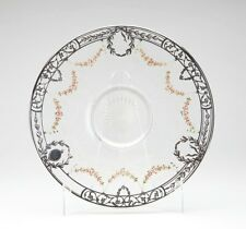 ANTIQUE SILVER OVERLAY FLORAL ENAMEL GLASS PLATE 19TH C.