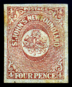 Canada Newfoundland 1861 4d Rose SC# 18. MH. Wide Margines
